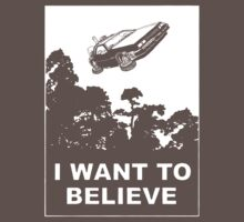 I Want To Believe in Delorean Flying Kids Clothes