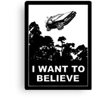 I Want To Believe in Delorean Flying Canvas Print