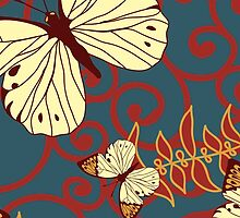 Butterfly (Butterflies), Swirls - Red Blue Brown  by sitnica
