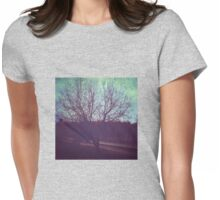 Turquoise sky and lonely tree Womens Fitted T-Shirt