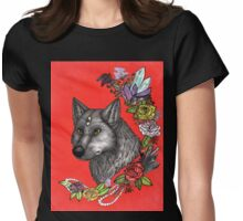 Wolf's Third Eye - A Spiritual Self Portrait Womens Fitted T-Shirt