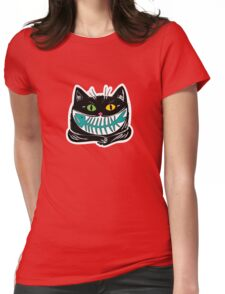 cat and fish Womens Fitted T-Shirt