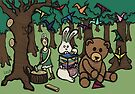 Teddy Bear And Bunny - Paper Swans by Brett Gilbert