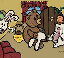Teddy Bear And Bunny - The Decoy by Brett Gilbert