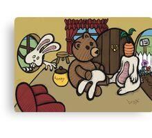 Teddy Bear And Bunny - The Decoy Canvas Print