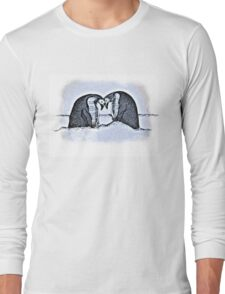 Snowy Winter Pretty Penguin Print Long Sleeve T-Shirt