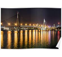 ANZAC Bridge at Night Poster