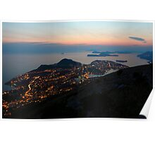 Evening View of Dubrovnik and the Dalmatian coast Poster