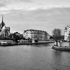 Ile Saint-Louis Panorama BW by lesslinear