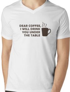 Drinking Coffee Under the Table Mens V-Neck T-Shirt