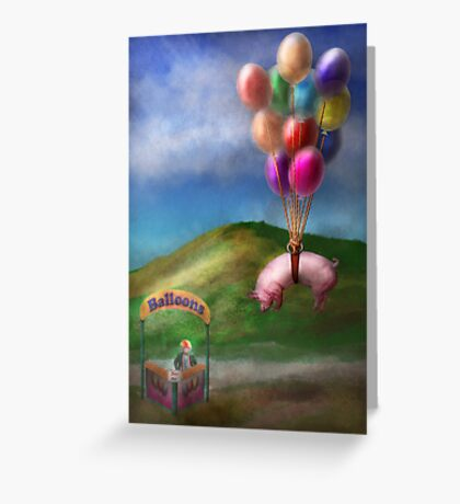 Flying Pig - Child - How I wish I were a bird Greeting Card