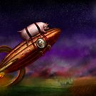 Flying Pig - Rocket - To the moon or bust by Mike  Savad