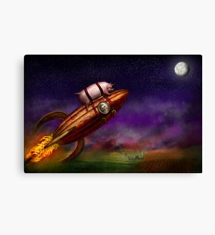 Flying Pig - Rocket - To the moon or bust Canvas Print
