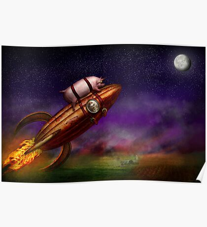 Flying Pig - Rocket - To the moon or bust Poster