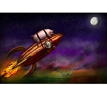 Flying Pig - Rocket - To the moon or bust Photographic Print