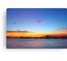 Sunset in Hong Kong at summer time Canvas Print