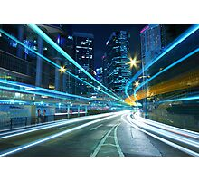 Traffic in downtown of a city, pearl of the east: Hong Kong. Photographic Print
