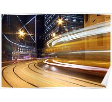 Busy traffic in Hong Kong at night Poster