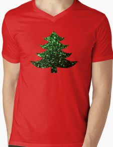 Christmas tree green sparkles  Mens V-Neck T-Shirt