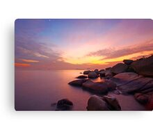 Sunset over the ocean. Nature composition under long exposure. Canvas Print
