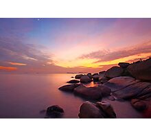 Sunset over the ocean. Nature composition under long exposure. Photographic Print