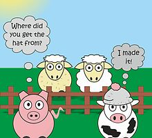 Rudy the Pig & Moody the Cow - Woolly Hat Humour by Samantha Harrison