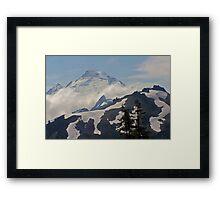 above the clouds beyond the ridge, mt baker, washington, usa Framed Print