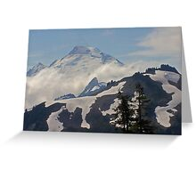 above the clouds beyond the ridge, mt baker, washington, usa Greeting Card