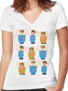 Set of Spock, Jim Kirk, and Bones valentines Women's Fitted V-Neck T-Shirt
