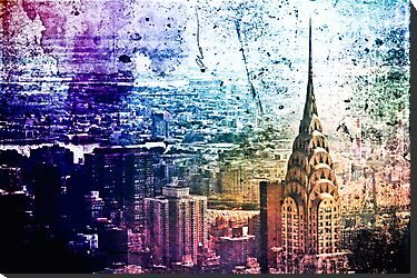 Chrysler Building - Paint Splotches - New York City -  by Vivienne Gucwa