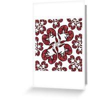 Little Red Fox Heart Pattern Greeting Card