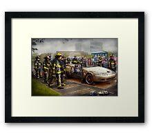 Firemen - The fire demonstration Framed Print