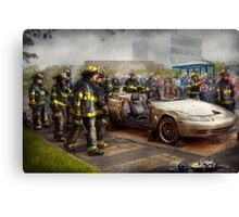 Firemen - The fire demonstration Canvas Print