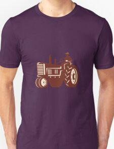 Farmer Driving Vintage Tractor Retro T-Shirt