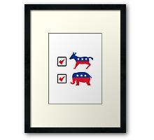 Republican Elephant Democrat Donkey Election Ballot Framed Print