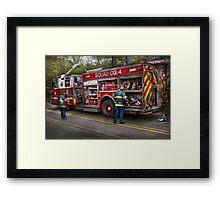 Firemen - The modern fire truck Framed Print