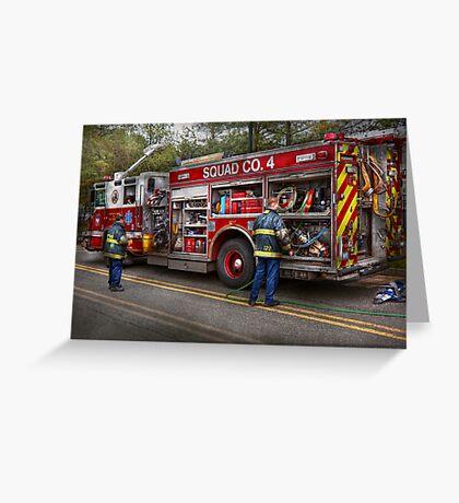 Firemen - The modern fire truck Greeting Card