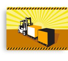 Forklift Truck Materials Handling Retro Canvas Print