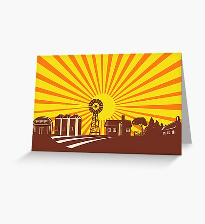 Farmer and Farm with Tractor Greeting Card