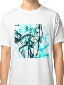 Black and Aqua Teal Abstract Smoke Pattern Classic T-Shirt