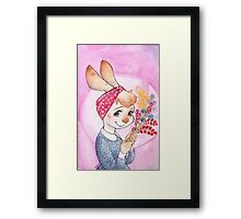 Bunny girl with flowers Framed Print