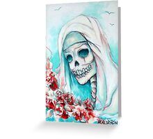 Nun with Flowers Greeting Card