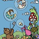 Teddy Bear And Bunny - The Bubble Flower by Brett Gilbert
