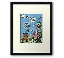 Teddy Bear And Bunny - The Bubble Flower Framed Print