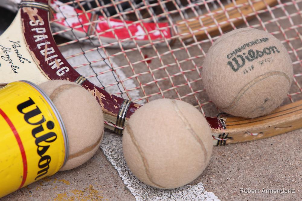 Wood Tennis Rackets and Vintage Balls by Robert Armendariz