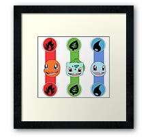 The Original Starters Charmander, Bulbasaur and Squirtle Framed Print