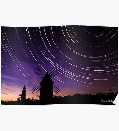 Star trails & Wind Mill Poster