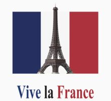 Vive la France Flag and Eiffel Tower  One Piece - Long Sleeve
