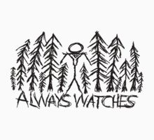 """White """"Always Watches"""" Slenderman T-Shirt by Margrave16"""
