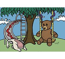 Teddy Bear And Bunny - The Playground Photographic Print